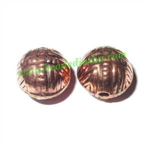 Copper Metal Beads, size: 10.5x10.5mm, weight: 1.08 grams.