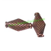 Copper Metal Beads, size: 15x7x3mm, weight: 0.62 grams.