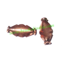 Copper Metal Beads, size: 13x6x3mm, weight: 0.5 grams.