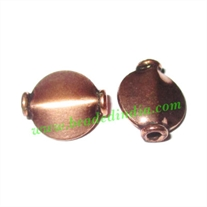 Copper Metal Beads, size: 12x10x4mm, weight: 0.71 grams.