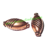 Copper Metal Beads, size: 17x8x7mm, weight: 0.95 grams.