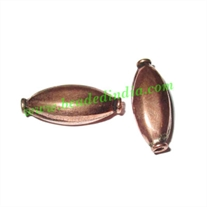 Copper Metal Beads, size: 20x8x7mm, weight: 1.11 grams.