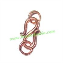 Copper Metal S Hooks, size : 18x10x2mm with 6mm ring, weight: 1.35 grams.
