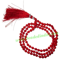 Coral Red 4mm round prayer beads mala of 108 beads