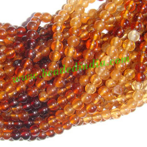 Hessonite 4mm round prayer beads mala of 108 beads