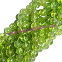 Peridot 6mm round semi precious gemstone beads.