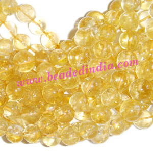 Citrine 8mm round semi precious gemstone beads.