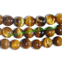 Tiger Eye 8mm round semi precious gemstone beads.