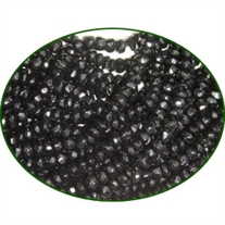 Fine Quality Black Onex Faceted Roundel, size: 4mm to 4.5mm