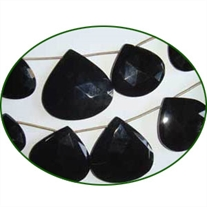 Fine Quality Black Onyx Briolette Faceted Heart, size: 20mm to 35mm
