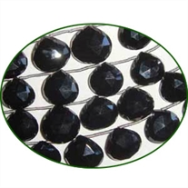 Fine Quality Black Onyx Briolette Faceted Heart, size: 9mm to 12mm
