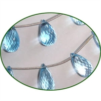 Fine Quality Blue Topaz Briolette Faceted Drops, size: 9mm to 12mm