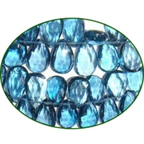 Fine Quality London Blue Topaz Briolette Faceted Pears, size: 6x9mm to 7x10mm