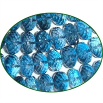 Fine Quality London Blue Topaz Briolette Faceted Roundel, size: 7mm to 10mm