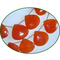Fine Quality Carnelian Briolette Faceted Heart, size: 16mm to 25mm