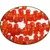 Fine Quality Carnelian Plain Side Drilll Drops, size: 7mm to 10mm