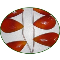 Fine Quality Chalcedony Red Faceted Pears, size: 15x20mm to 20x30mm