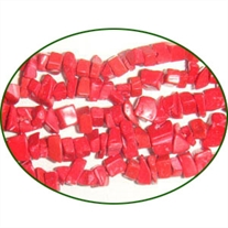 Fine Quality Coral Dyed Red Plain Uncut Chips, size: 3mm to 6mm