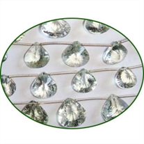 Fine Quality Green Amethyst Concave Cut Heart, size: 8mm to 10mm