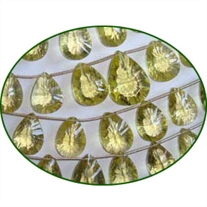 Fine Quality Lemon Topaz Faceted Concave Cut Pears, size: 10x12mm to 12x16mm