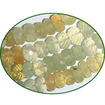 Fine Quality Prehnite Faceted Roundel, size: 11 to 12mm