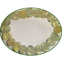Fine Quality Prehnite Faceted Twisted Pillow, size: 8mm to 9mm