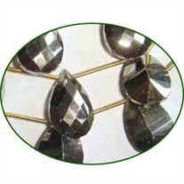 Fine Quality Pyrite Concave Cut Briolette Pear One Side, size: 12x14mm to 13x18mm