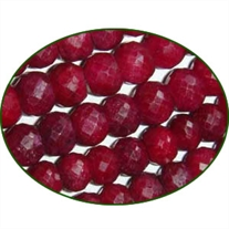 Fine Quality Ruby Dyed Faceted Roundel, size: 7mm to 8mm