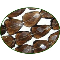 Fine Quality Smoky Topaz Faceted Flat Tumble, size: 15mm 28mm