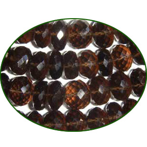 Fine Quality Smoky Topaz Faceted Roundel, size: 9mm to 10mm