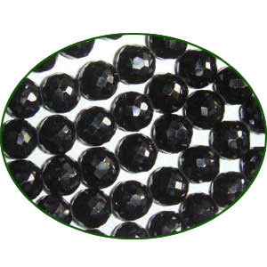 Fine Quality Black Spinal Faceted Round, size: 7mm to 8mm