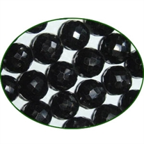 Fine Quality Black Spinal Faceted Round, size: 10mm to 11mm