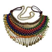 Metal beads and wire necklace-Rani Haar