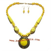 Resin beads designer necklace with earring set