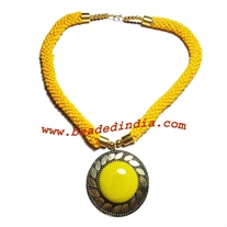 Glass seed beaded fancy necklace with pendant