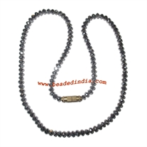 Glass beads necklace, glass beads mala with screw hook