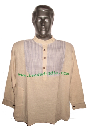 full sleeve short khadi yoga kurta, size : chest 50 x height 30 inches (extra large).