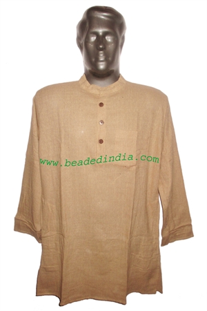 full sleeve long khadi yoga kurta, size : chest 48 x height 34 inches (large).