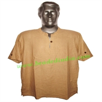 half sleeve short khadi yoga kurta, size : chest 46 x height 30 inches (medium).