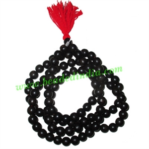 Ebony Black Dyed Wood Beads String (mala of 108 fine handmade 9mm round beads without knots)