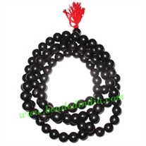 Free shipping Real ebony wood 108 beads knotted mala (pack of 20 strings), size 7mm
