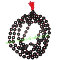 Ebony Black Dyed Wood Beads String (mala of 108 fine handmade 18mm round beads well knotted)