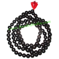 Real Ebony Wood Beads String (mala of 108 fine handmade 20mm round beads without knots)