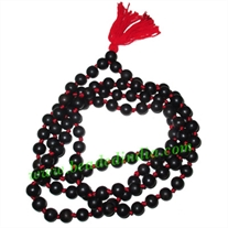 Real Ebony Wood Beads String (mala of 108 fine handmade 10mm round beads well knotted)