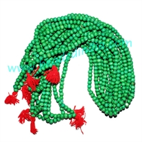 Natural Wooden Beads String (mala), color green, size: 6mm