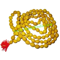 Putra Jeeva Yellow Wood Beads-Seeds String (108 beads mala), size: 9mm
