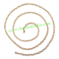 Gold Plated Metal Chain, size: 0.5x3mm, approx 93.1 meters in a Kg.
