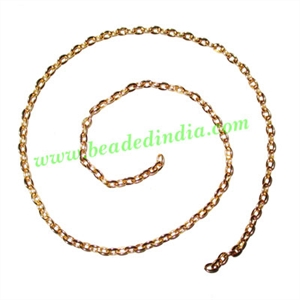 Gold Plated Metal Chain, size: 0.5x3mm, approx 85.1 meters in a Kg.