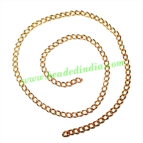 Gold Plated Metal Chain, size: 1x2.5mm, approx 83.8 meters in a Kg.