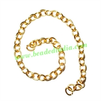 Gold Plated Metal Chain, size: 1x5mm, approx 44.2 meters in a Kg.